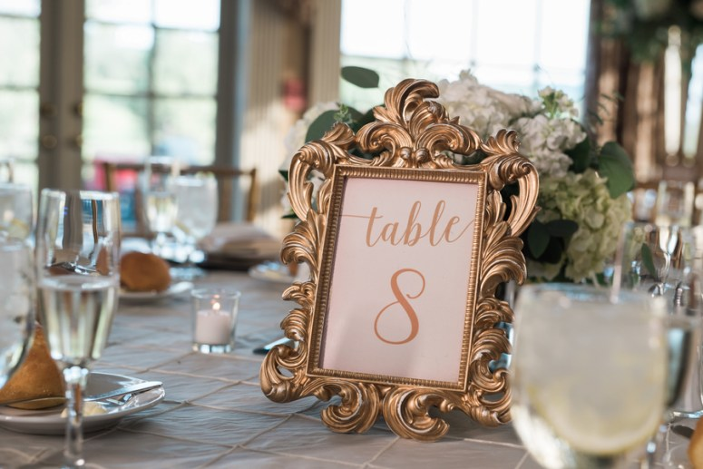 gold table placard for weddings