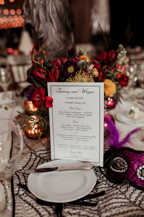 halloween themed wedding reception menu