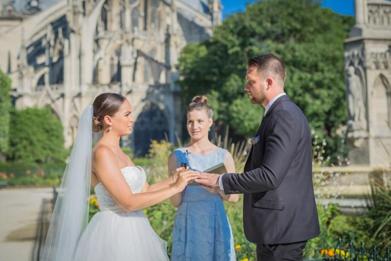 Ring Ceremony at Paris Elopement