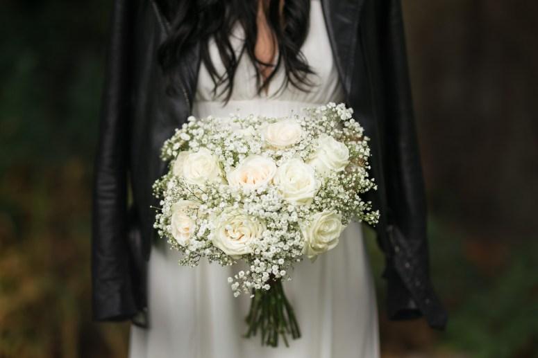boho bride wearing leather jacket