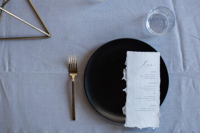 simple minimalist wedding reception menu