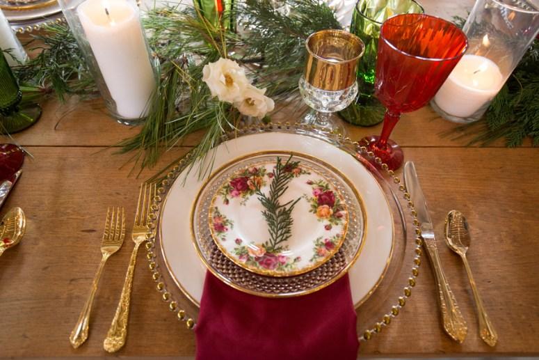 Christmas themed wedding table setting