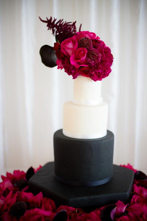 black white and pink wedding cake, modern wedding cake, florals on wedding cake