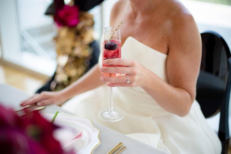 pink and black wedding, hot pink wedding, ohio wedding, ohio wedding ideas, champagne with berries