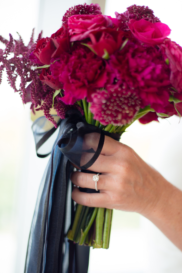 hot pink wedding bouquet, pink wedding bouquet, pink and black wedding bouquet