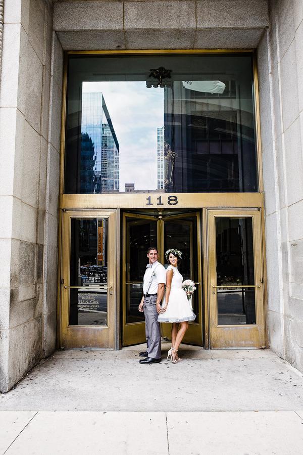 Short Wedding Dress, Nude Wedding Shoes, Chicago Wedding