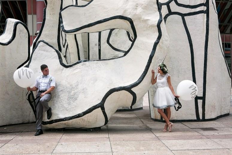 Wedding Balloons, City Hall Wedding, Short Wedding Dress