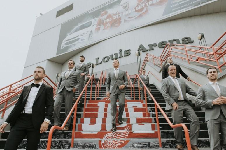 Joe Louis arena, Detroit wedding, groomsmen portraits
