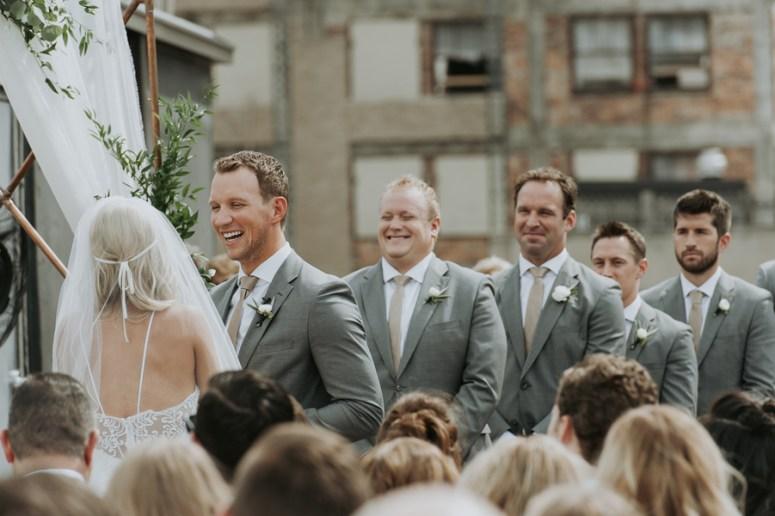 rooftop wedding, groomsmen at wedding ceremony, city wedding, Detroit wedding