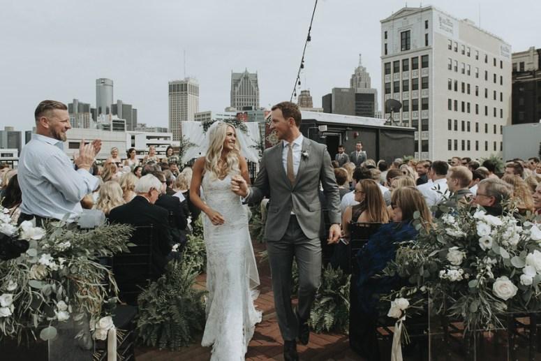 rooftop wedding, detroit wedding, modern wedding, flowers for wedding ceremony, city wedding