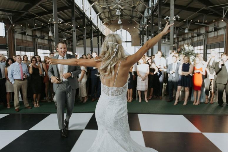 checkerboard dance floor, first dance, detroit wedding ideas