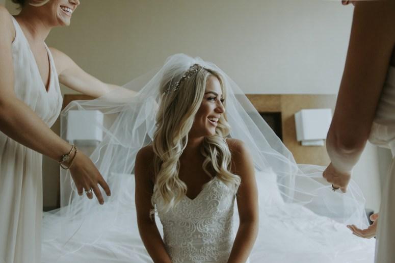 bridal portrait, bride getting dressed, Detroit wedding