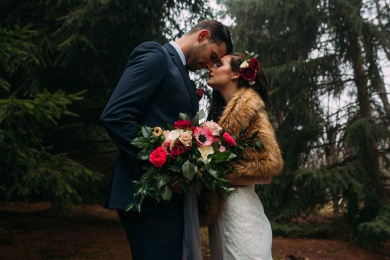 Ontario Wedding Photographer, Ontario Wedding, Bride wearing fur shawl, winter wedding