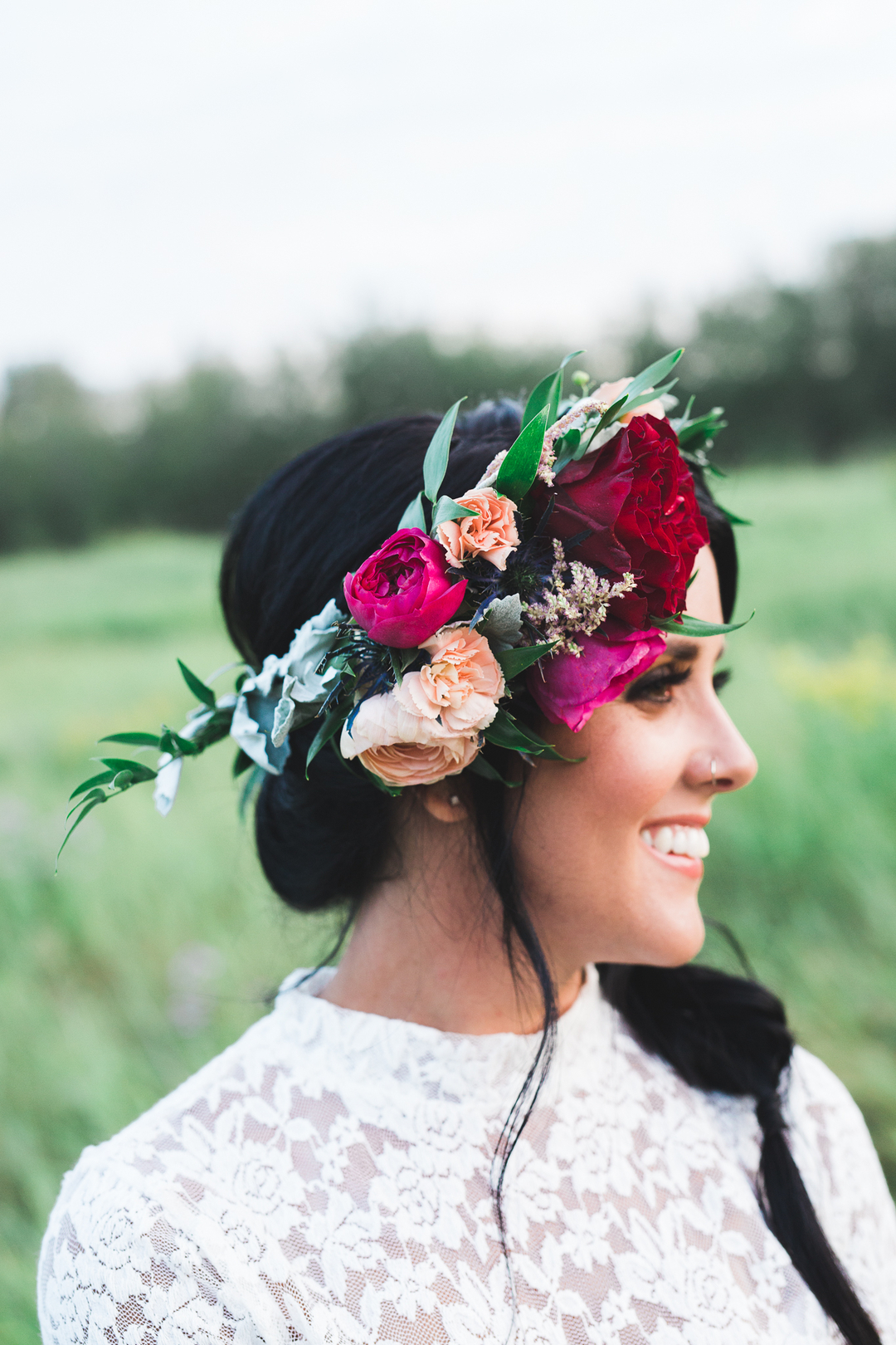 Pink And Red Bridal Flower Crown