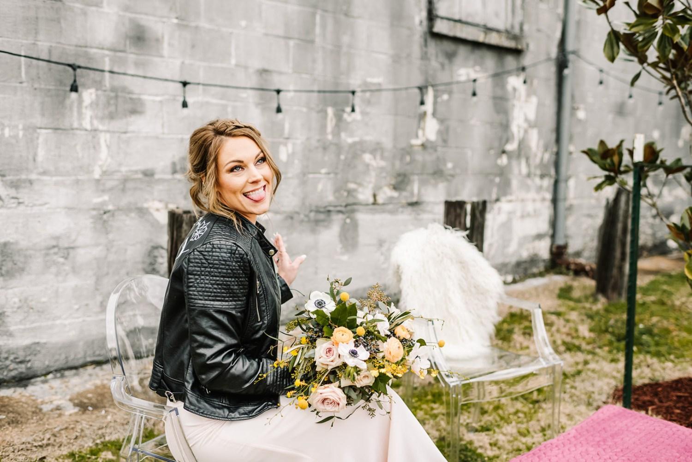 Loflin Yard Wedding, Memphis Wedding, Rock and Roll Bride, Modern Wedding, bride in ghost chair