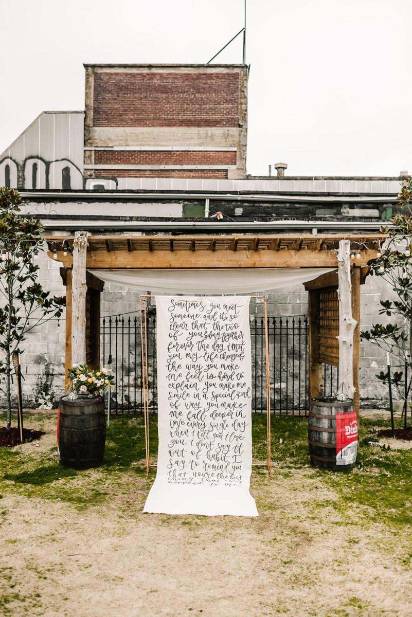 Loflin Yard Wedding, Memphis Wedding, Rock and Roll Bride, Modern Wedding, calligraphy backdrop for wedding
