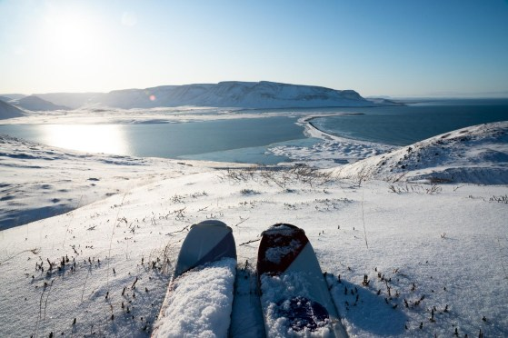 Skiing in the Troll Peninsula. North Iceland.