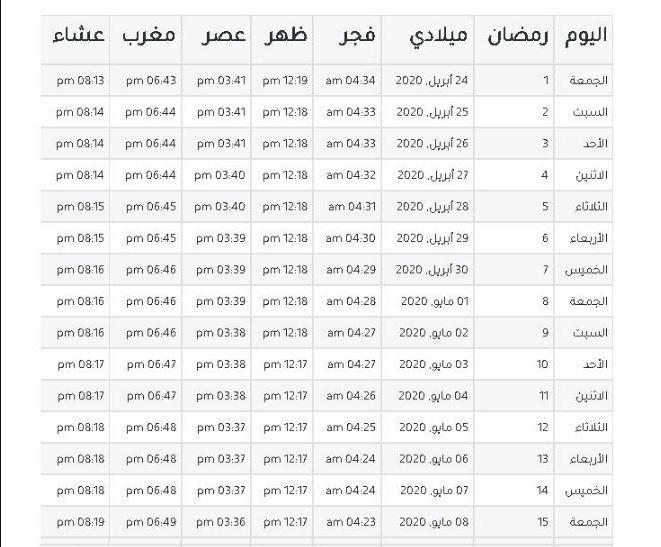 إمساكية شهر رمضان 2020 2021 في السعودية ومصر والعراق موعد أذان المغرب وموعد أذان الفجر اليوم سطور دوت نت