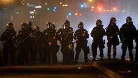 riot police advance