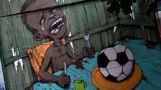 Child, fork, soccer ball