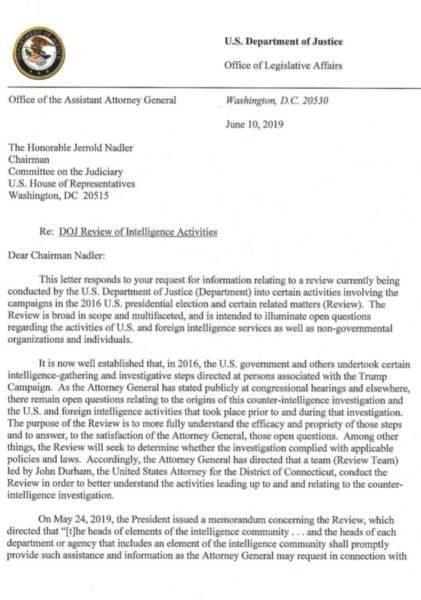 DOJ letter Russiagate