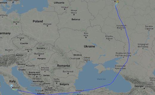 flight path Russia medical aid Italy poland