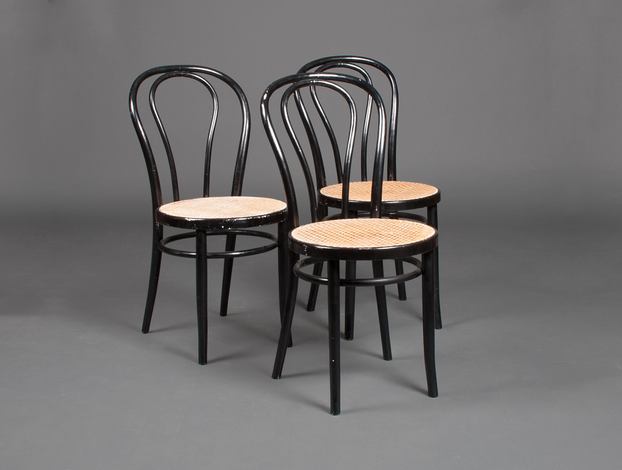 3 thonet style black chairs