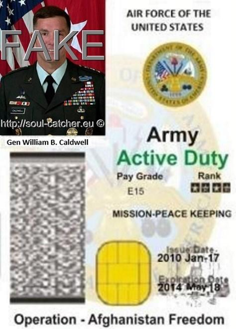 Fake Identity Card Lt. Gen. William B. Caldwell (Retired) abused by Scammers