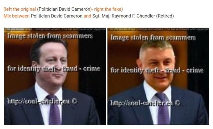 Politician David Cameron image abused by Scammer