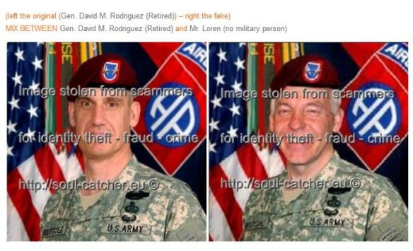 Gen. David M. Rodriguez(Retired) image abused by Scammers