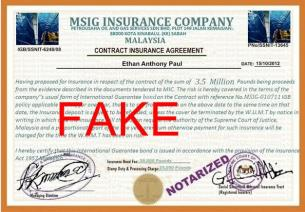 Fake-Document used from Sammer for identity theft - fraud - crime