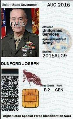 General Joseph F Dunford JR Identity Card-4