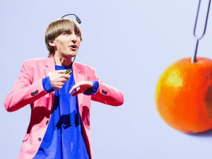 Photo of Neil Harbisson from his TED talk
