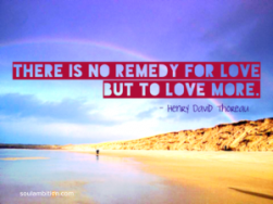 There is no remedy for love but to love more - Henry David Thoreau