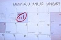 Picture of a January calendar with 'Go!' written on the 1st of January