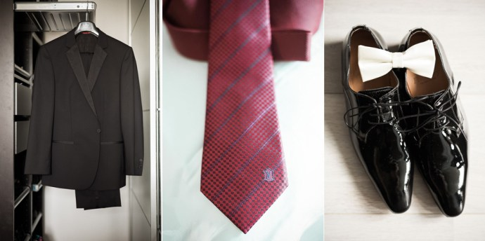 details costume mariee cravate rouge