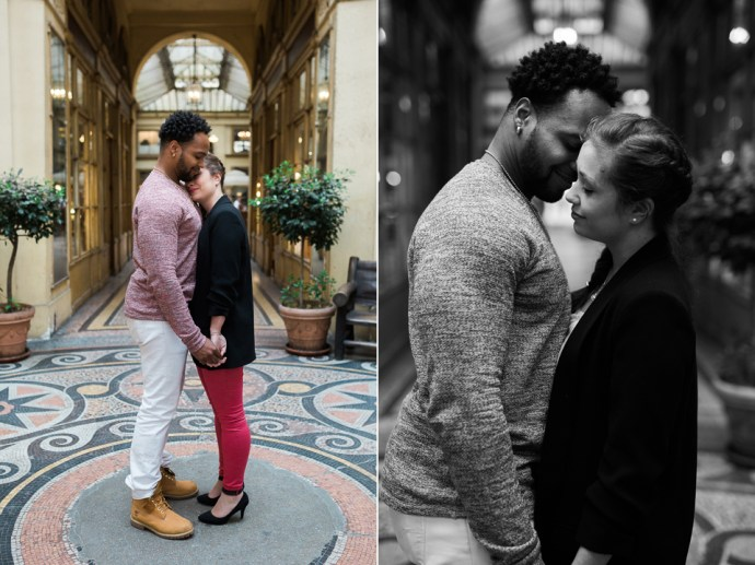 seance engagement photo couple galerie vivienne paris couple mix