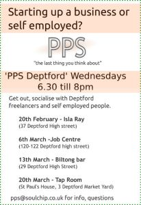 PPS Deptford leaflet details the dates and time of the visted venues