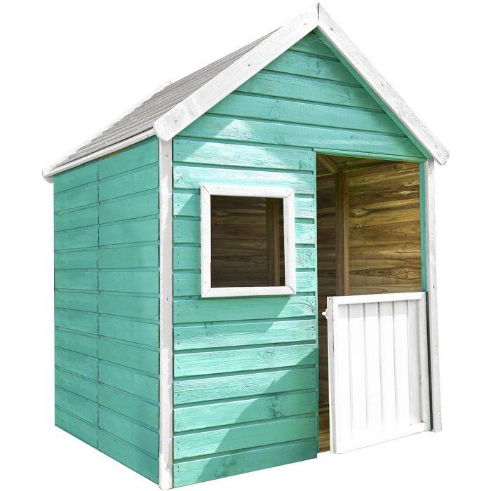 cabane en bois traite avec plancher et portillon pour enfant marina