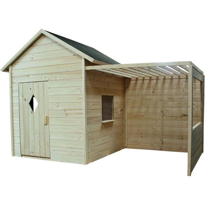cabane en bois avec plancher et tonelle mimosa