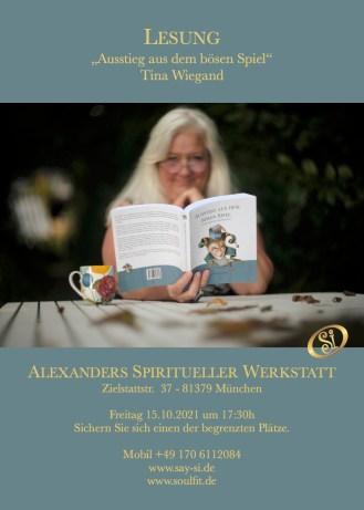 Lesung - Ausstieg aus dem bösen Spiel - Tina Wiegand - Soulfit Verlag