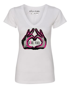 Women's Heart Hands Graphic V-Neck