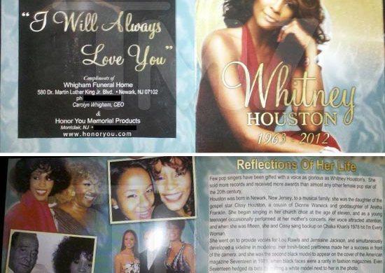 Whitney Houston Funeral Program