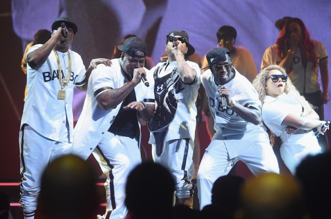 """NEW YORK, NY - MAY 20: Members of 112, French Montana, Puff Daddy, and Lil Kim perform onstage during the Puff Daddy and The Family Bad Boy Reunion Tour presented by Ciroc Vodka And Live Nation at Barclays Center on May 20, 2016 in New York City. (Photo by Jamie McCarthy/Getty Images for Live Nation)"""