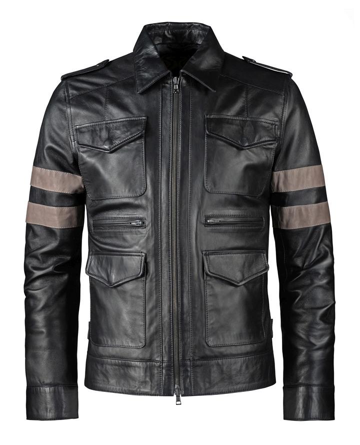 Leather Sleeve Jackets Men