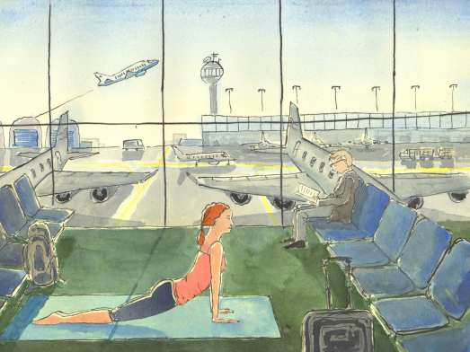 Yoga in the airport
