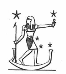 Sahu-Orion (astral Osiris) in his barque, traveling across the heavens. C. 1994. Robert Bauval & Adrian Gilbert