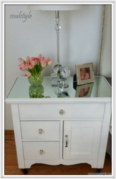 Mirrored top painted Night Stand
