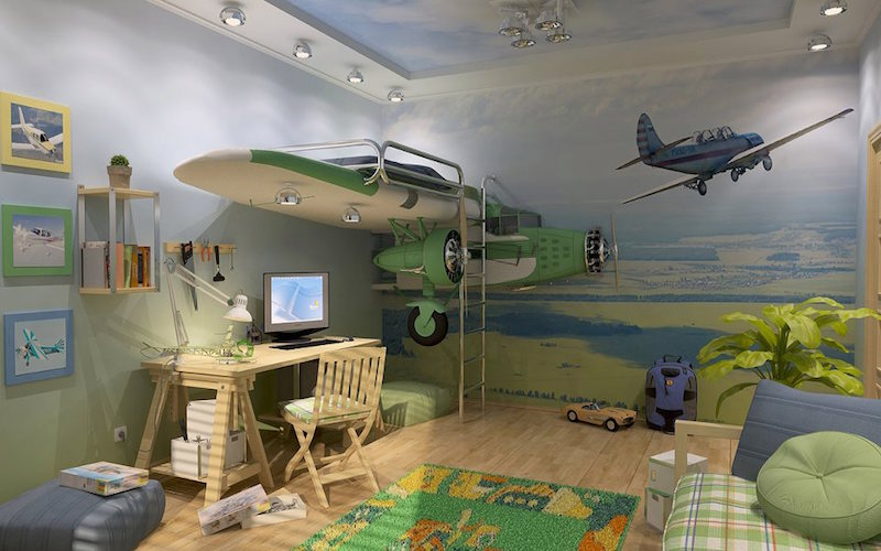 quarto-infantil-aviões-verde