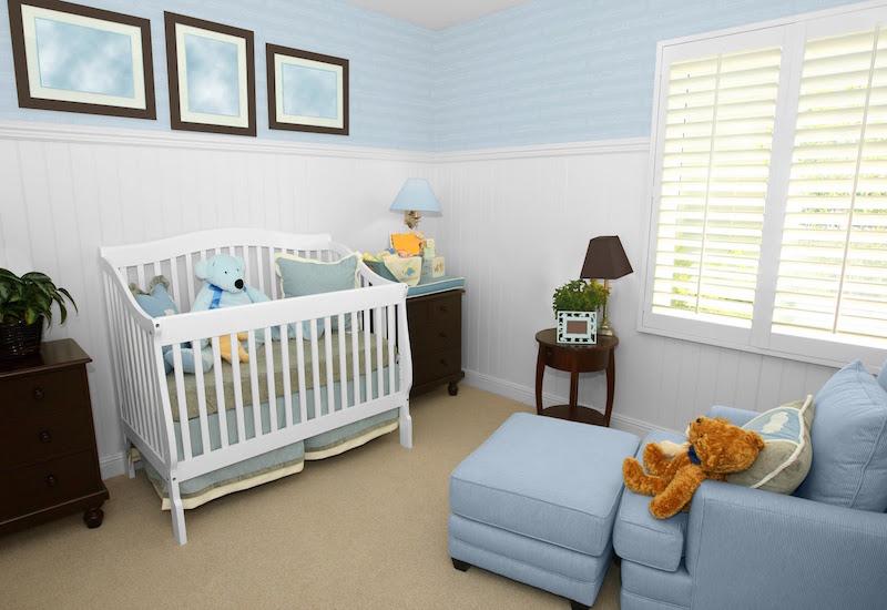 Quarto Azul para bebês, crianças e adolescentes ~ Quarto Solteiro Azul E Branco